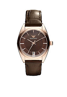 Emporio Armani Rose Gold with Brown Leather Strap Watch