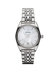 Emporio Armani® Ladies Classic Round Dial Watch with Stainless Steel Bracelet Watch