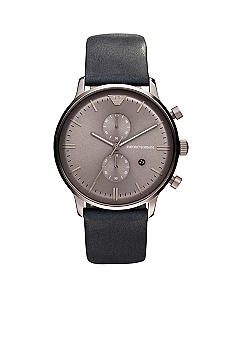 Emporio Armani Classic Men's Watch With Black Leather Strap And Light Brown Chronograph Dial