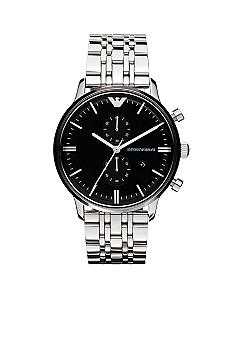 Emporio Armani Men's Classic Polished Stainless Steel Chronograph Watch with Black Round Face