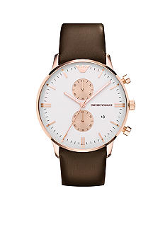 Emporio Armani Men's JFK Round Rose Gold-Tone Case with Silver Chronograph Dial and Brown Leather Strap Watch