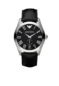 Emporio Armani® Men's Watch with Black Croc Embossed Leather Strap and Black Round Dial