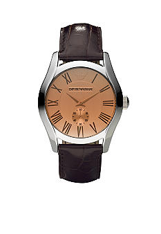 Emporio Armani Classic Men's Round Watch with Brown Leather Strap