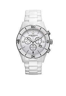 Emporio Armani Emporio Armani White Ceramic Men's Watch with White Chronograph Dial