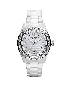 Emporio Armani Ladies White Ceramic Watch With Swarovski Crystals
