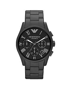 Emporio Armani Men's Valente Black Chronograph Round Dial with Black Matte Ceramic Bracelet Watch
