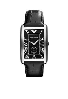 Emporio Armani Men's Stainless Steel and Black Strap Watch