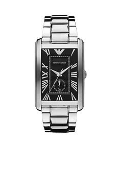 Emporio Armani Men's Marco Classics Rectangular Black Dial Stainless Steel Bracelet Watch