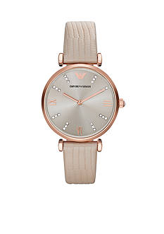Emporio Armani Women's Nude Leather and Rose Gold-Tone Stainless Steel Two Hand Glitz Watch