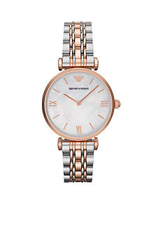 Emporio Armani Women's Rose Gold Tone IP and Stainless Steel Bracelet Two Hands Watch