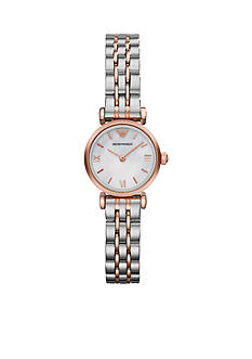 Emporio Armani Women's Rose Gold-Tone and Stainless Steel Two-Tone Bracelet Two-Hand Watch