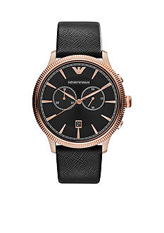 Emporio Armani Men's Black Saffiano Leather Chronograph Watch