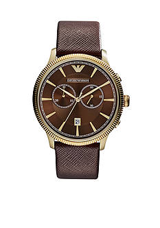 Emporio Armani Men's Brown Saffiano Leather Chronograph Watch