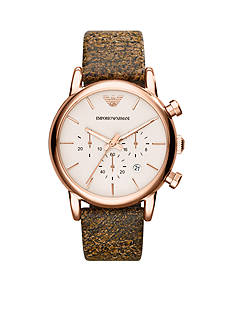 Emporio Armani Men's Brown Cracked Leather Chronograph Watch