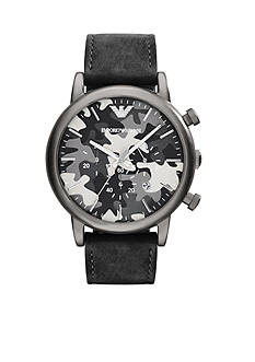 Emporio Armani Men's Black Nubuck Leather Chronograph Watch