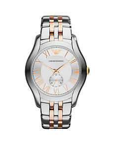 Emporio Armani Two Tone Stainless Steel Three Hand Watch