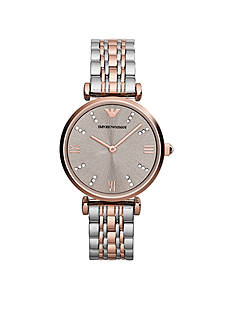 Emporio Armani Women's Two Tone Stainless Steel Bracelet 2 Hand Watch
