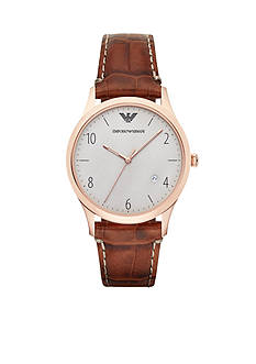 Emporio Armani Men's Classic Brown Croco Strap Three Hand with Date Watch