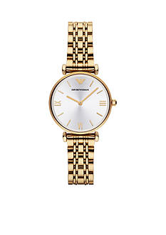 Emporio Armani Retro Gold-Tone Stainless Steel Bracelet Two Hand Watch