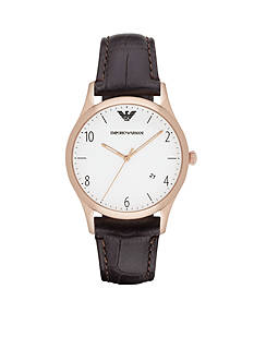 Emporio Armani Men's Rose Gold-Tone and Leather Watch