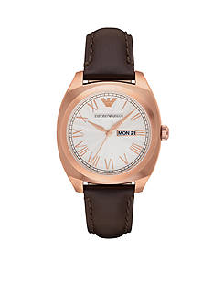 Emporio Armani Men's Rose Gold-Tone and Brown Leather Three Hand Watch