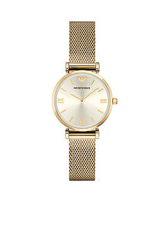 Emporio Armani Womens Gold-Tone Mesh Three Hand Watch