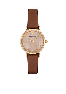 Emporio Armani Womens Brown Leather Coral Mother of Pearl Dial Three Hand Watch