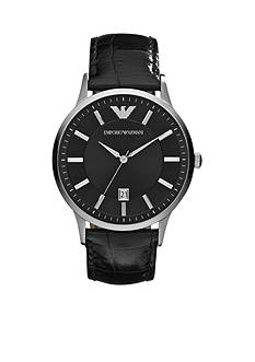 Emporio Armani Men's Black Leather and Silver-Tone Stainless Steel Three-Hand Watch