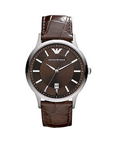 Emporio Armani Men's Brown Croco Leather Strap Three-Hand with Date Watch