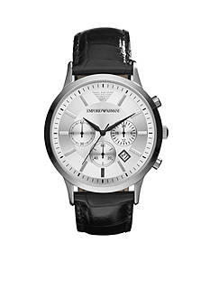 Emporio Armani Men's Black Leather and Silver-Tone Stainless Steel Chronograph Watch