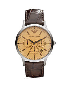 Emporio Armani Men's Brown Leather Three-Hand Watch