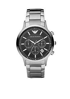 Emporio Armani Men's Stainless Steel Round Black Chronograph Dial Watch