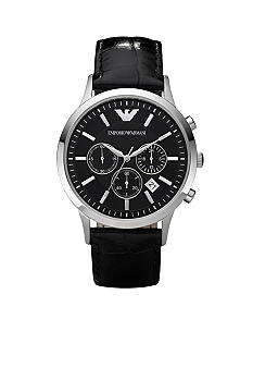 Emporio Armani Emporio Armani Men's Classic Round Black Chronograph Watch With Black Leather Strap
