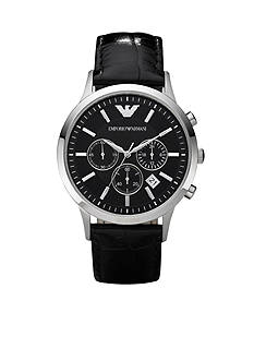 Emporio Armani Men's Classic Round Black Chronograph Watch With Black Leather Strap