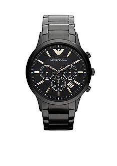 Emporio Armani Men's Classic Black Stainless Steel Watch With Round Black Chronograph Dial