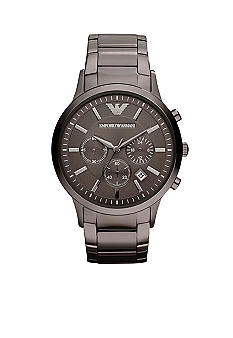 Emporio Armani Men's Classic Round Grey on Grey Stainless Steel Watch