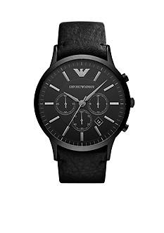 Emporio Armani Men's Black Leather and Black Stainless Steel Chronograph Watch