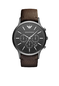 Emporio Armani Mens Gunmetal Stainless Steel and Brown Leather Sportivo Chronograph Watch
