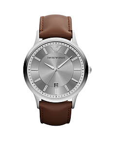 Emporio Armani Men's Brown Leather and Silver-Tone Stainless Steel Three-Hand Watch
