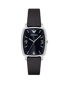 Emporio Armani Mens Black Leather Three Hand Watch