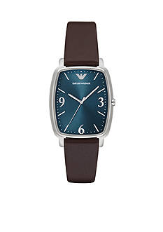 Emporio Armani Men's Tonneau Brown Leather Blue Dial Three Hand Watch