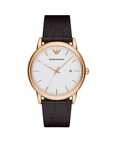 Emporio Armani Men's Rose-Gold Tone and Leather Three-Hand Watch
