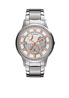 Emporio Armani Men's Silver-Tone Stainless Steel Two-Hand Meccanico Watch