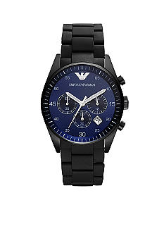 Emporio Armani Sportivo Black Silicone and Stainless Steel with Blue Dial