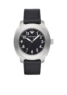 Emporio Armani Men's Sport Black Leather Strap Three Hand Watch