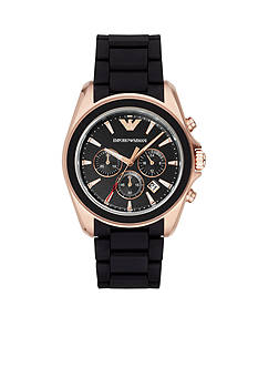 Emporio Armani Men's Sigma Rose Gold-Tone And Black Chronograph Watch