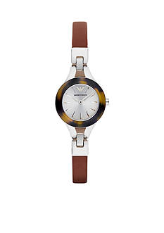 Emporio Armani Classic Brown Leather Bracelet Two Hand Watch