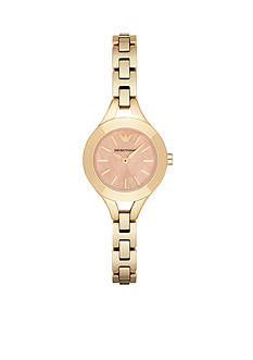 Emporio Armani Womens Gold-Tone Coral Mother of Pearl Dial Three Hand Watch