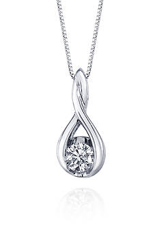 Sirena Diamond Twist Pendant in 14k White Gold