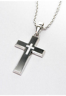 Belk & Co. Stainless Steel Diamond Cross Pendant